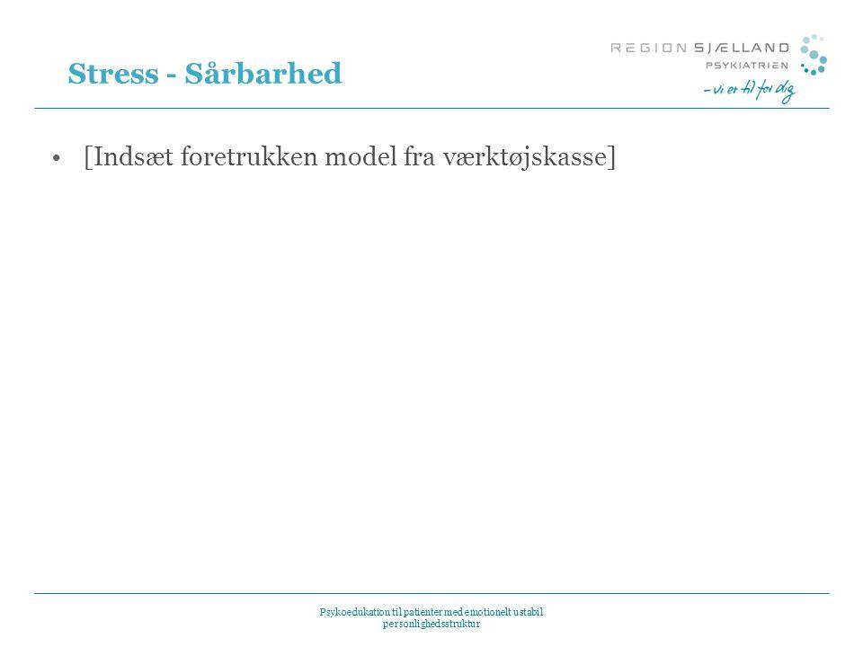 Stress - Sårbarhed [Indsæt foretrukken model fra værktøjskasse] 8
